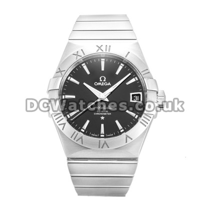 Cheap UK Omega Constellation Automatic Replica Watch With Black Dial For Men