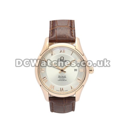 Cheap UK Omega De Ville Automatic Replica Watch With Silvery Dial For Men