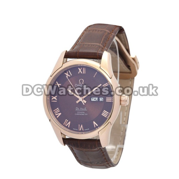 Quality UK Sale Omega De Ville Automatic Replica Watch With Brown Dial For Men
