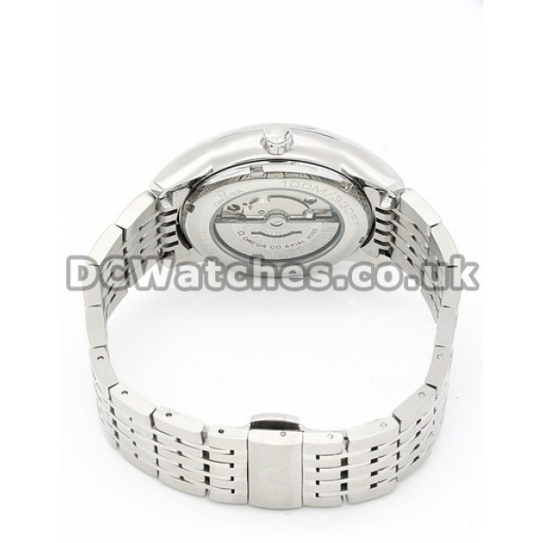 Swiss Movement UK Sale Omega De Ville Automatic Replica Watch With Silvery Dial For Men