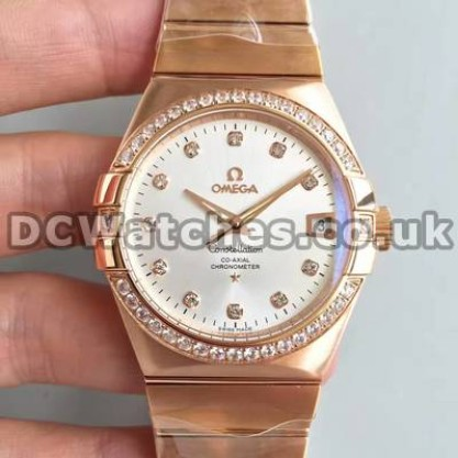 Perfect UK Omega Constellation Automatic Replica Watch With White Dial For Men