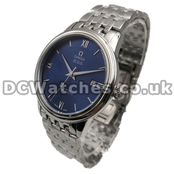 Cheap UK Sale Omega De Ville Automatic Fake Watch With Blue Dial For Men