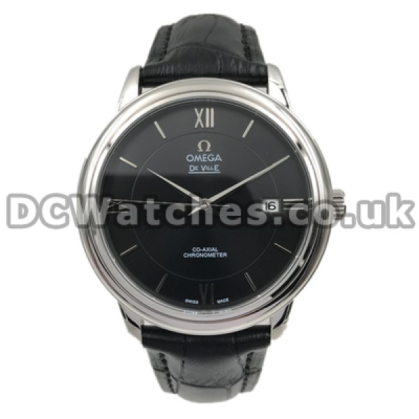 Cheap AAA UK Sale Omega De Ville Automatic Replica Watch With Black Dial For Men